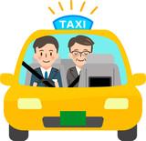タクシーに乗った運転手と乗客(正面) - 221406244