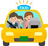 タクシーに乗った親子連れと女性運転手 - 221408024