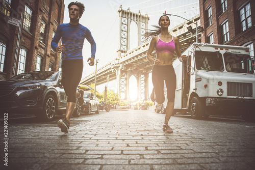 Couple running in New york