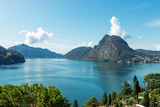 View of Lake Lugano and Mount San Salvatore - 221416297