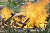 big fire, burning dump, high temperature - 221420423