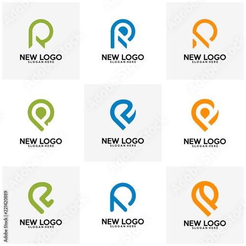 Set of Initial R logo design vector, R P logo template