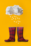 Autumn minimal concept. Rain. Red boots in a cage on a yellow background. - 221424813