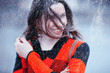 Leinwanddruck Bild - rainy weather girl posing fall / raindrops, spray, girl adult on a rain background