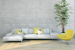 Leinwanddruck Bild - large luxury modern bright interiors apartment Living room illustration 3D rendering computer generated image