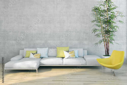 large luxury modern bright interiors apartment Living room illustration 3D rendering computer generated image  - 221439411