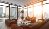 Empty living room brightly illuminated by sunlight - 221447878