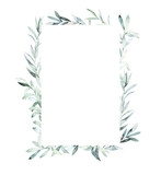 Watercolor frame with eucalyptus branch for card, wedding, greeting, invitation. Hand drawn illustration - 221467641