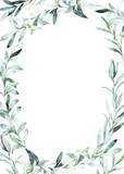 Watercolor frame with eucalyptus branch for card, wedding, greeting, invitation. Hand drawn illustration - 221467685