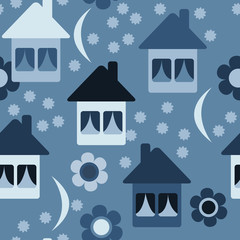 Seamless pattern with cute cartoon houses. The concept of time to sleep, children's illustration