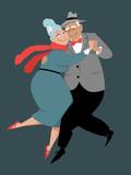 Cute couple of senior citizens dancing tango, EPS 8 vector illustration - 221471287