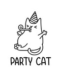 A Party Cat Vector Cartoon Drawing