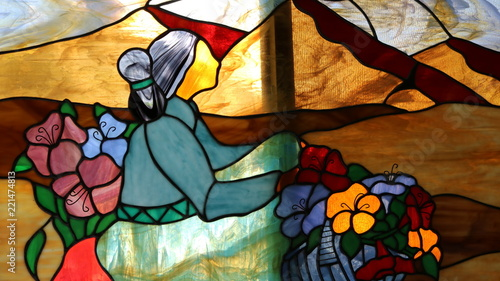 Stained Glass Woman 2 - 221474813
