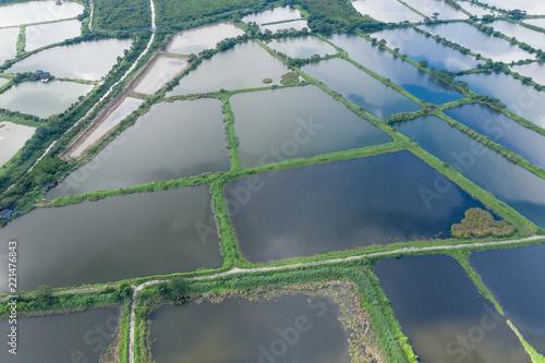 Aerial view of Fish hatchery pond