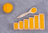 Turmeric powder - Graph of sales and consumption statistics. Curcuma longa. Top view - 221482014