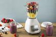 Leinwandbild Motiv Organic Healthy Fruit in a Blender
