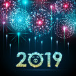 Vector holiday festival blue firework. Happy new year card 2019