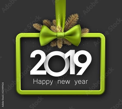 grey 2019 happy new year background with green frame and bow