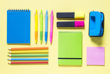 School and office sstationery on yellow background.  - 221496647
