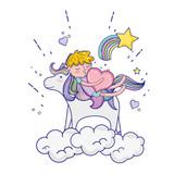 sleeping boy riding unicorn with heart