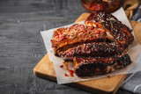 Smoked Roasted pork ribs. Barbeque spicy ribs. Traditional american BBQ food - 221504039