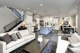 Large modern luxury living room interior in Bellevue home. - 221509453