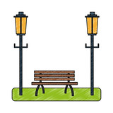 Park chair and street light scribble - 221511214