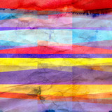 Watercolor Art retro color abstract geometric background stripes - 221528639