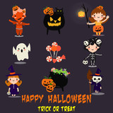 Halloween background with lovely costumes