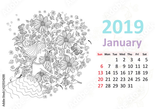 happy coloring page calendar for 2019 january