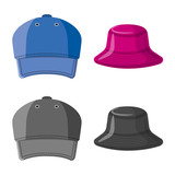 Vector illustration of headwear and cap sign. Set of headwear and accessory stock symbol for web. - 221538635