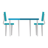 wooden table with chairs - 221542420