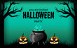 halloween party invitation template with pumpkins scary face and potion on the pot.. banner poster template. vector illustration