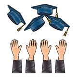 throwing hands graduation hats - 221543489