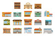 Store shop front window buildings icon set flat isolated - 221549619