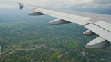 Travel Video View from the airplane window over the wings and engines The aircraft are flying through a cloud and Good weather On the go to Chiang Mai. in transportation concept. - 221553206