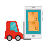forklift vehicle with smartphone and boxes - 221556481