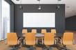 Gray modern office meeting room interior, banner