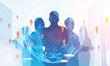 Business team silhouettes, global world teamwork