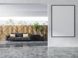 Wood wall pattern living room, gray sofa, poster - 221559806