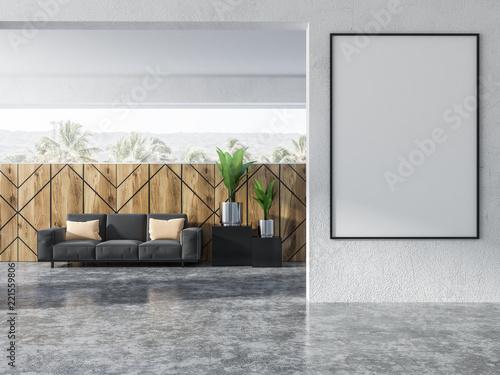 Wood wall pattern living room, gray sofa, poster
