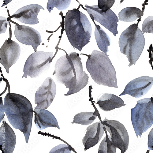 Watercolor and ink painted tree leaves pattern - 221574022