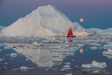 Greenland midnight moonrise mirror panorama with red sail ship	 - 221574450