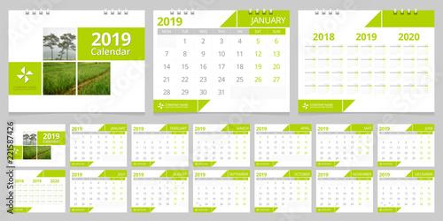 2019 calendar set week start Monday corporate design template vector.