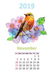 romantic floral banner with bird. Calendar for 2019, november