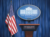 Politics of White House and President of USA United states concept.  Podium speaker tribune with USA flags and sign of White House - 221597436