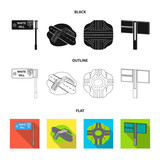 Direction signs and other web icon in cartoon style.Road junctions and signs icons in set collection. - 221600027