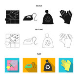 Cleaning and maid cartoon icons in set collection for design. Equipment for cleaning vector symbol stock web illustration. - 221600038