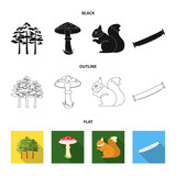 Pine, poisonous mushroom, tree, squirrel, saw.Forest set collection icons in cartoon style vector symbol stock illustration web. - 221600212