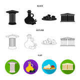 Greece, country, tradition, landmark .Greece set collection icons in cartoon style vector symbol stock illustration web. - 221600257